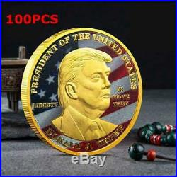 100PCS President Donald Trump Inaugural Gold Plated Commemorative Novelty Coin