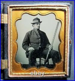 10 dollar gold coin Union case sixth-plate tintype photo double-barrel shotgun