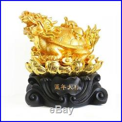 11 Big Rotatable Golden Feng Shui Dragon Turtle Tortoise Statue on Coins