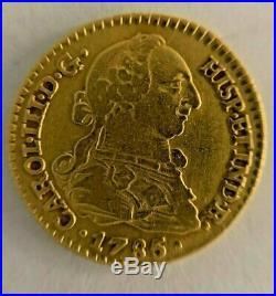 1785 Spanish Colonial 1 Escudo Rare & Collectible Gold Coin Mint Mark S C