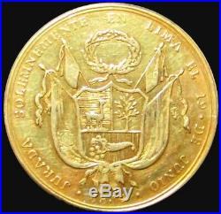 1834 Gold Lima Peru 8 Escudo Proclamation Constitution Eliasberg Collection