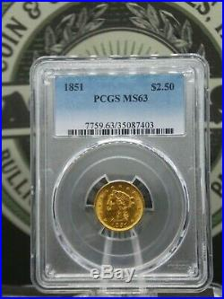 1851 $2.50 Gold Liberty Quarter Eagle PCGS MS63 East Coast Coin & Collectables
