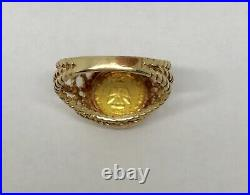 1865 Mexicano Imperio Maximiliano Emperador Gold 1 Peso Coin 14 K RING Sz 5