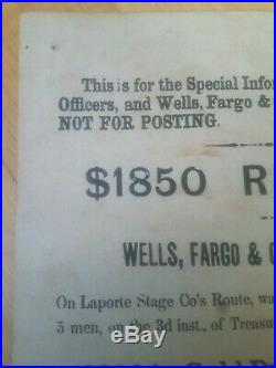 1875 Authentic Reward Wanted Poster WELLS FARGO Stage Coach Robbery Gold & Coins