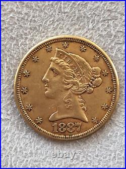1887-S $5.00 Dollar Liberty Head 90% Gold Coin Five Dollar Coin Collectible