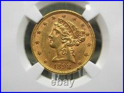 1898 $5 Gold Liberty Head Half Eagle NGC MS62 East Coast Coin & Collectables Inc