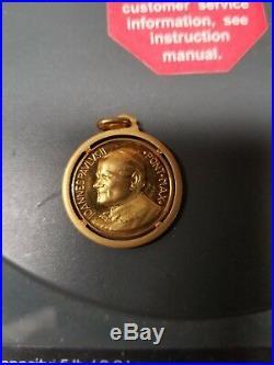 18k Yellow gold Pope John Paul ii pendant coin catholic not scrap jewelry