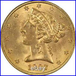 1907 Liberty Head Half Eagle MS 65 ICG 90% Gold $5 US Coin Collectible