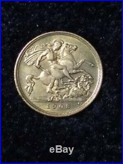 1908-M Edward VII London Mint Gold Sovereign Collectible Coin