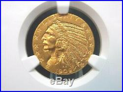 1909 D $5 Gold Indian Head Half Eagle NGC MS62 East Coast Coin & Collectables