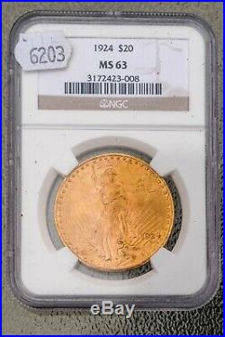 1924 St. Gaudens $20 Gold, MS 63, NGC Certified, Gold Coin, collectible