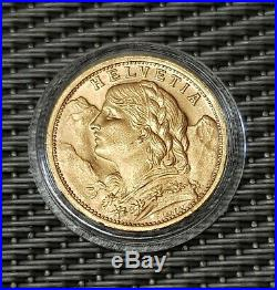 1927 B Switzerland 20 franc Gold coin, Helvetia, Swiss, High grade aUnc