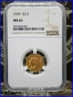 1929 $2.50 Gold Indian Quarter Eagle NGC MS61 East Coast Coin & Collectables