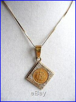 1945 Two-Peso 22-24Kt Gold Bouillon Coin 14Kt Pendant & Necklace SIGNED TS-28