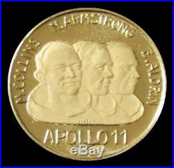 1969 GOLD APOLLO 11 PROOF 1st MOON LANDING WE CAME IN PEACE FOR ALL MANKIND