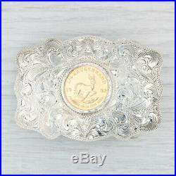 1982 1/4 Krugerrand Coin Belt Buckle Fine Gold Sterling Silver Western Accessory