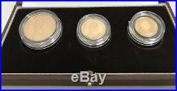 1983 United Kingdom 22K Gold Proof 3 Coin Collection 2 Pound Sov. Half Sov. Mint