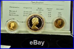 1984 United Kingdom Gold Proof Collection 3 Coin Set Coa 5 Pound Sov & Half Sov
