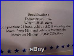 1986 STATUE OF LIBERTY CENTENNIAL COLLECTION GOLD over SILVER