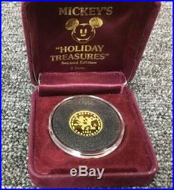 1987/1988 DISNEY1/4 oz. Gold Coin 1987 MERRY CHRISTMAS, REV. 1988 HAPPY NEW YEAR
