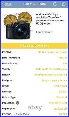 1990-p $10 Gold Eagle Pcgs Pr70dcam Reagan Legacy Series -highly Collectable