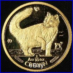 1991 Isle of Man 1/10 Oz Gold Cat Proof Norwegian Free Shipping USA