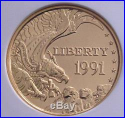 1991 USA $5 Gold Coin, Vault Collection W Mount Rushmore Ms70 Rare 1/2 Eagle
