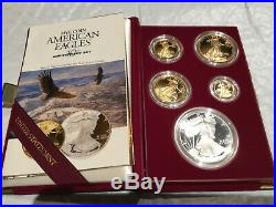 1995 W American 5 coin proof Eagle Gold Silver Dollar Key Date from collection