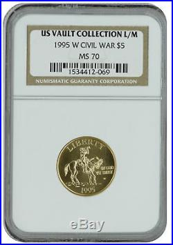 1995-W Civil War $5 Uncirculated Gold Commemorative MS70 NGC US Vault Collection