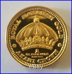 1 0z Gold Proof King Kalakaua 1989 Very Rare Collectible Coin