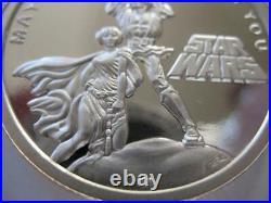 1- Oz. 999 Proof Silver Coin Star Wars (luke Skywalker Princess Leia) + Gold