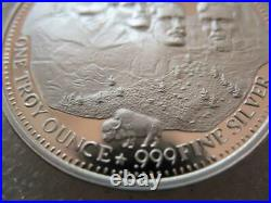 1 Oz. 999 Silver 1991 Mount Rushmore Sturgis Motorcycle-harley Rally Coin+gold