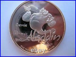 1 Oz. 999 Very Rare Silver Proof Coins Disney Genie Aladdin Jasmine Coa+gold