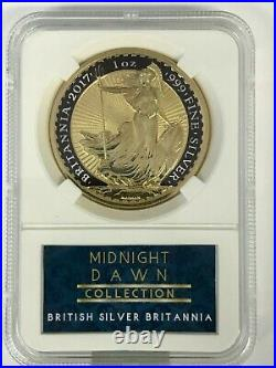 1 Oz Uk 2017 Silver Britannia Coin- 24kt Gold & Black Midnight Dawn Collection