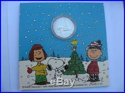 1-oz. 999 Silver Christmas Peanuts Gang Charlie Brown, Snoopy, Lucy, Coin+gold