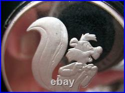 1-oz. 999 Silver Rare Pepe Le Puw & Bugs 5oth Anniv Le Proof Coin+gold