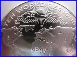 1-oz. Pure. 999 Silver Art Coin 10 World Regions Post 666 New World Order + Gold