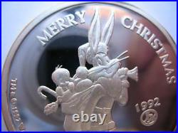 1-oz. Pure Silver Rare # 28 Bugs Bunny 1992 Limited Edition Christmas Coin+gold
