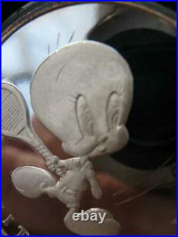 1-oz. Pure Silver Tweety Bird Bugs Bunny 50th Anniversary 1990 Coin +gold