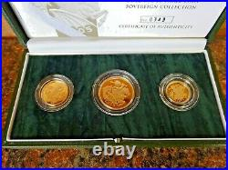 2005 United Kingdom Gold Proof Three Coin Sovereign Collection With COA