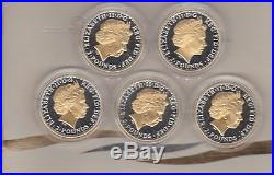 2006 Britannia Golden Silhouette 5 Silver Coin Collection Boxed With Certificate