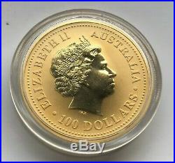 2007 1 oz Gold Coin Lunar Pig Australia Series I Collectible