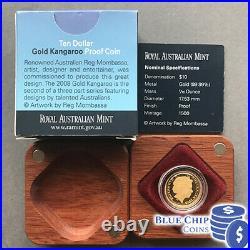 2008 $10 Reg Mombassa Kangaroo 1/10oz Gold Proof Coin NUMBERED 1396