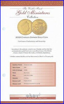 2009 Gold Miniatures Coin Collection 24k Gold Proof Coin Charles Darwin