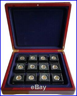 2010 Fabula Aurum 12 Coin 0.999 Fine Gold Proof Crown Collection Boxed