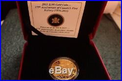 2011 $ 100 Gold coin 175 th Anniversary of Canada first railway with certificate