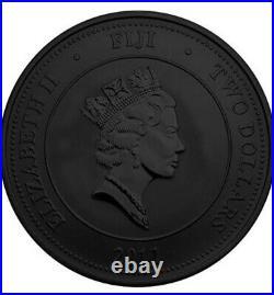 2011 1 Oz Silver FIJI TAKU Ruthenium Coin WITH 24K GOLD GILDED