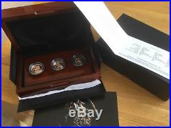 2014 Royal Mint Uk Gold Proof Sovereign Collection 3 Coin Set Coa