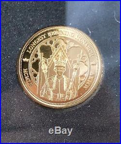2015 Longest Reigning Monarch Gold Proof Sovereign Collection Limited To 2,015