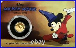 2017 Gold Disney Mickey Mouse Fantasia. 5 Gram Niue $2.5 Proof Coin In Card